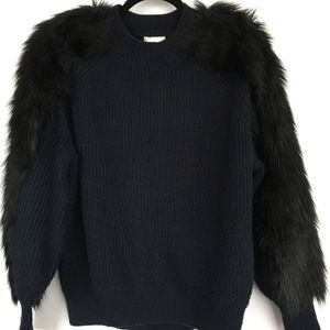 Navy knit with black faux firm detail